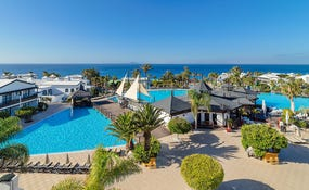 Panoramic view of the hotel swimming pools
