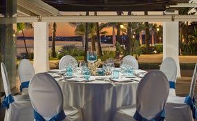 Banquet set-up in the Thalassa restaurant.