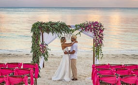 Wedding set-up on the hotel beach