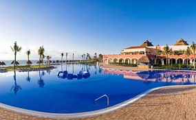 Hotel and swimming pool panoramical view
