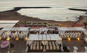 Night aerial view of a wedding set-up in the Sunset Chill-Out Bar