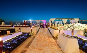 Night view of a wedding set-up in the Sunset Chill-Out Bar