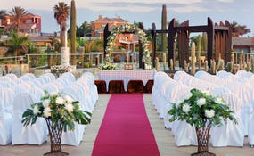 Wedding set-up on the Tirajana terrace.